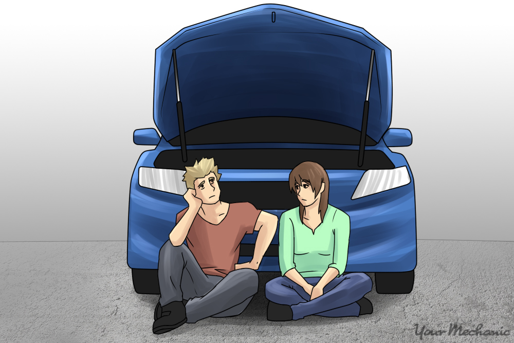 couple sitting in front of black car