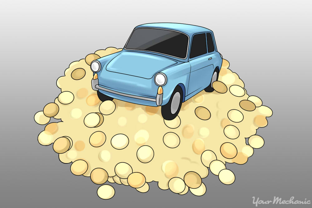 small car atop of a bunch of coins