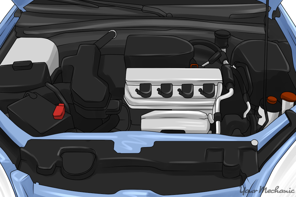 engine compartment of a car