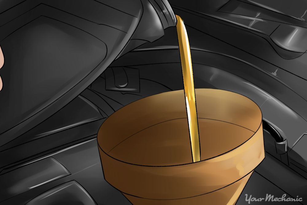 motor oil being poured into a car engine