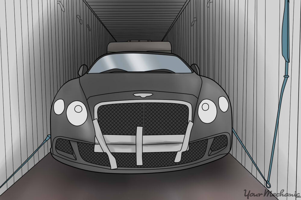 car parked in middle of container