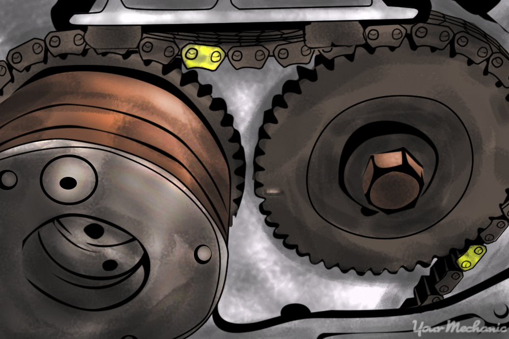 engine timing chain showing camshaft