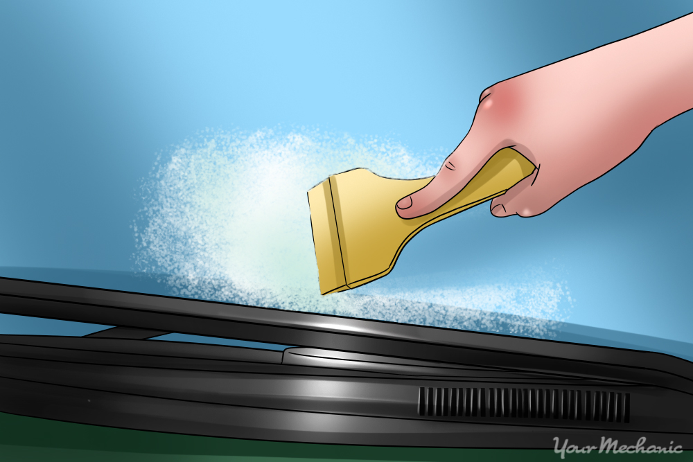 scraper leaving clean line through the foam