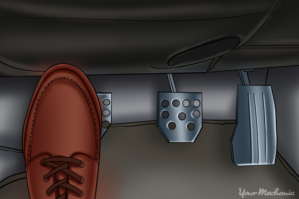 foot on clutch pedal