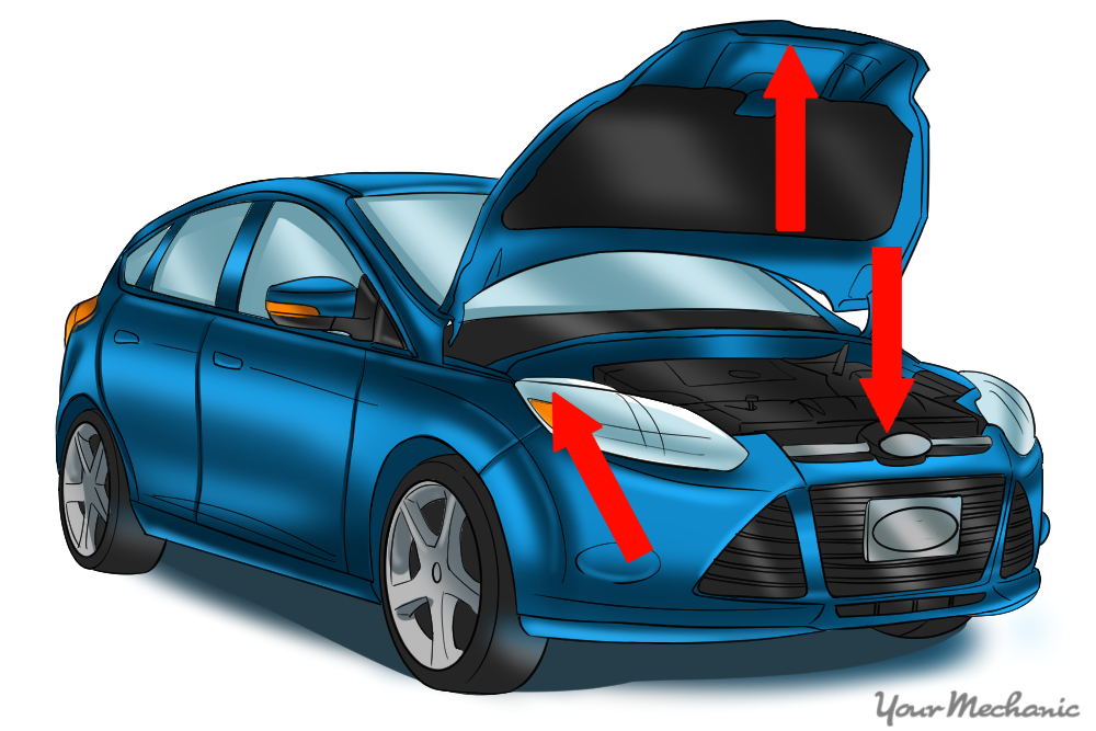 engine compartment with arrows in the areas shown to demonstrate typical label placement
