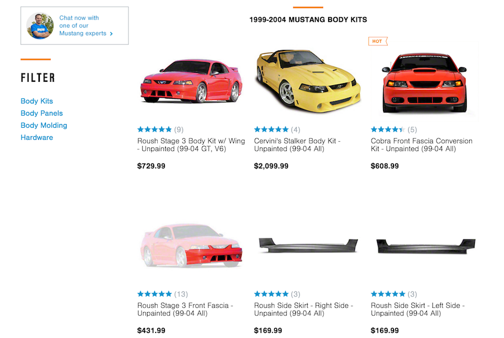 ford mustang site listing