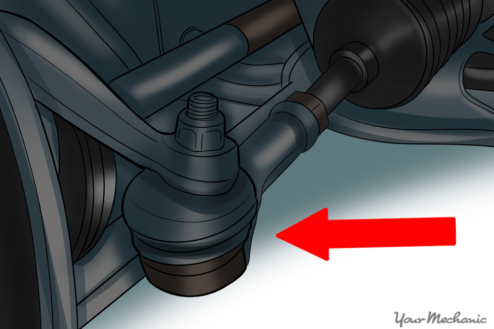 showing a ball joint on a vehicle