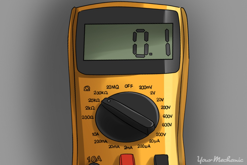 12 How to Repair a Car Horn a multimeter set to ohms with a 0.1 ohms reading displayed how to fix a car horn yourmechanic advice test car fuse box multimeter at edmiracle.co