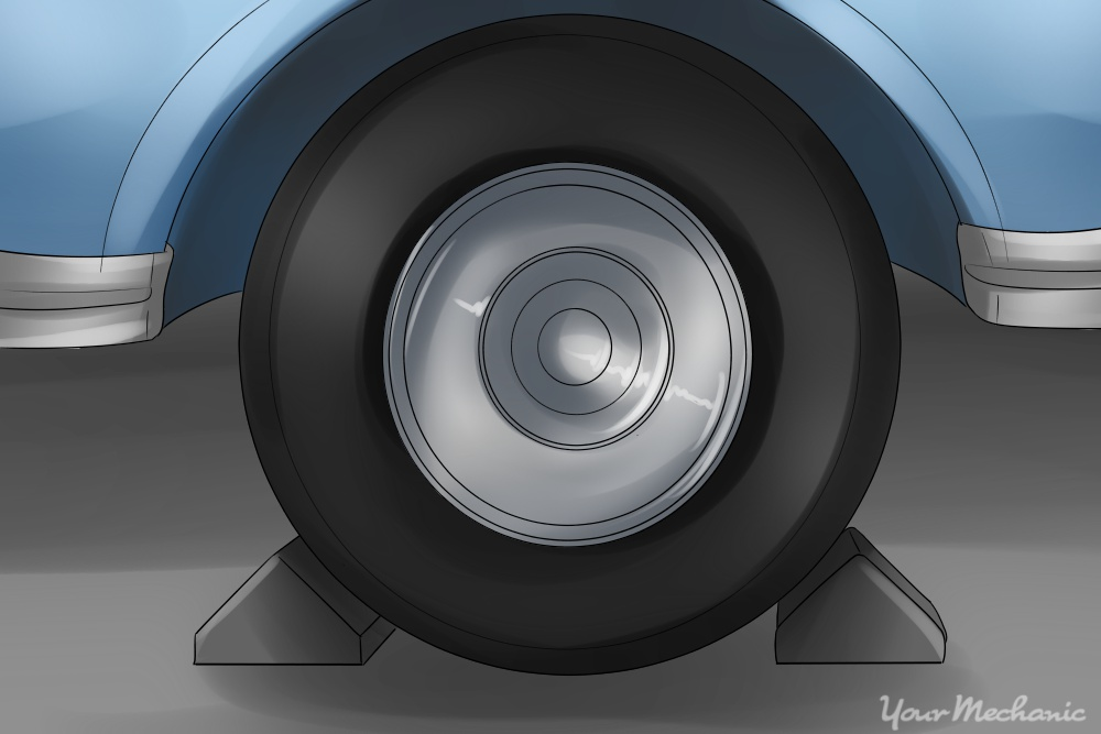 wheel chocks placed around tire