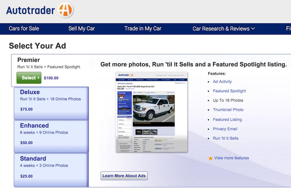 autotrader site car listing