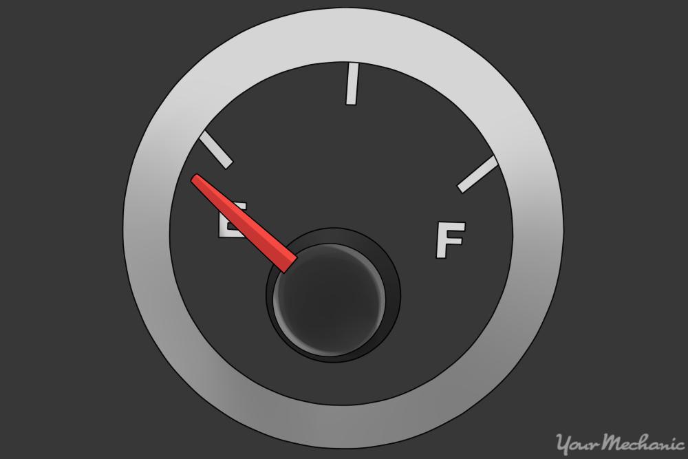 fuel gauge with indicator lights on dash