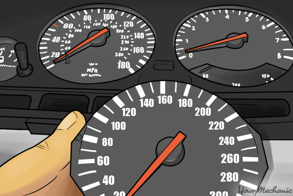 person holding a dash speedometer