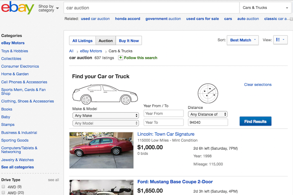 ebay car auction