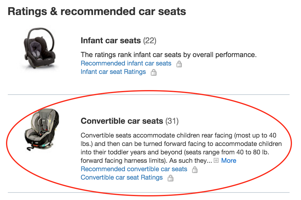 convertible car seat circled