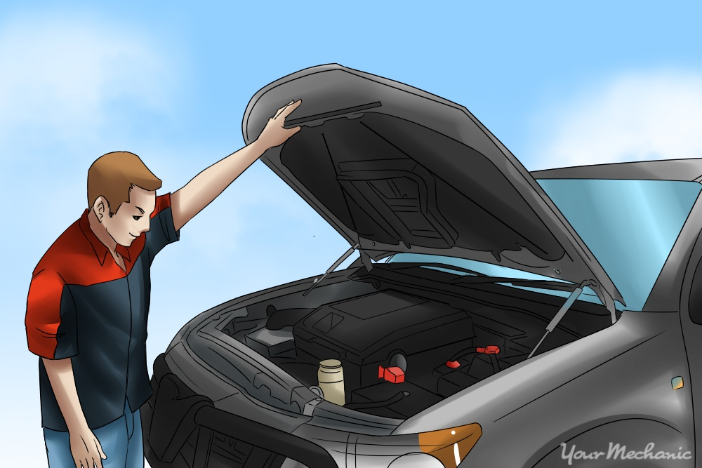 car hood up with person looking at engine