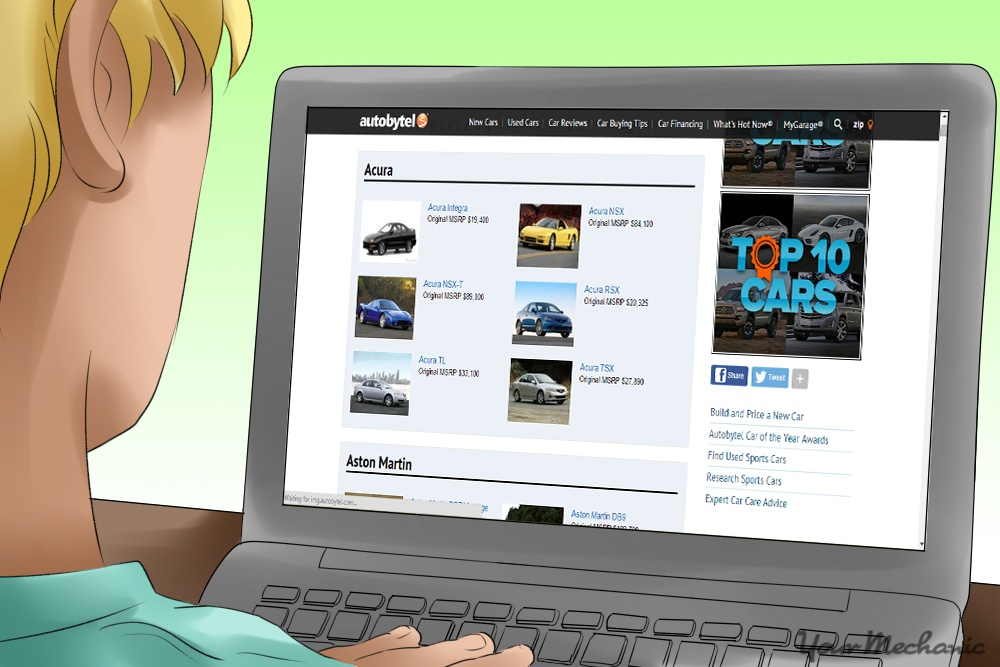 person searching online for a car