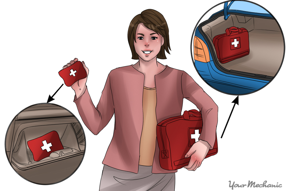 woman holding kit showing spots as to where it would be located