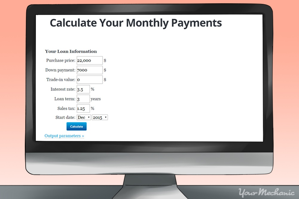 computer showing finance charge monthly calculator