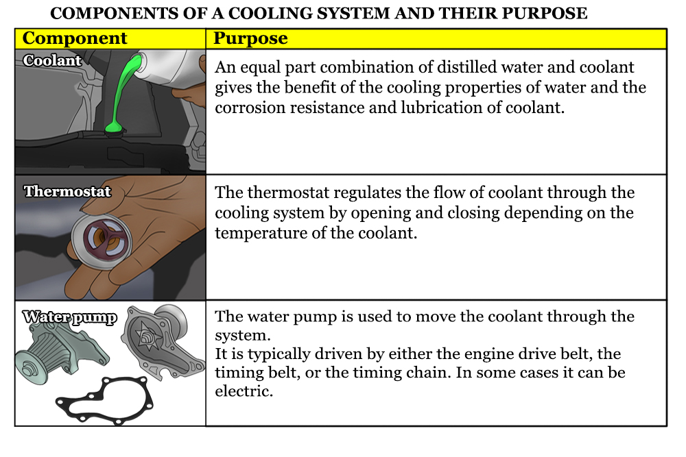 coolant, thermostat, and water pump