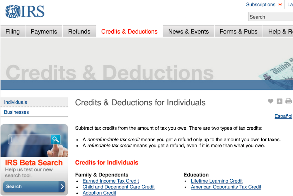 IRS deductions page
