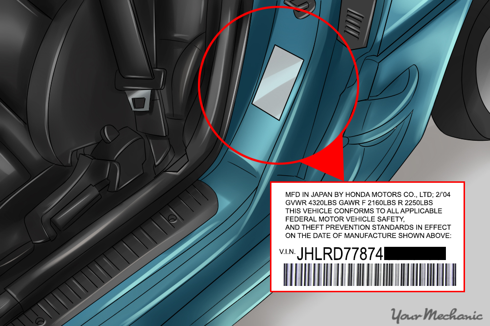 close-up of driver's door label, VIN circled. If illustrating, blur out the last six digits of the VIN