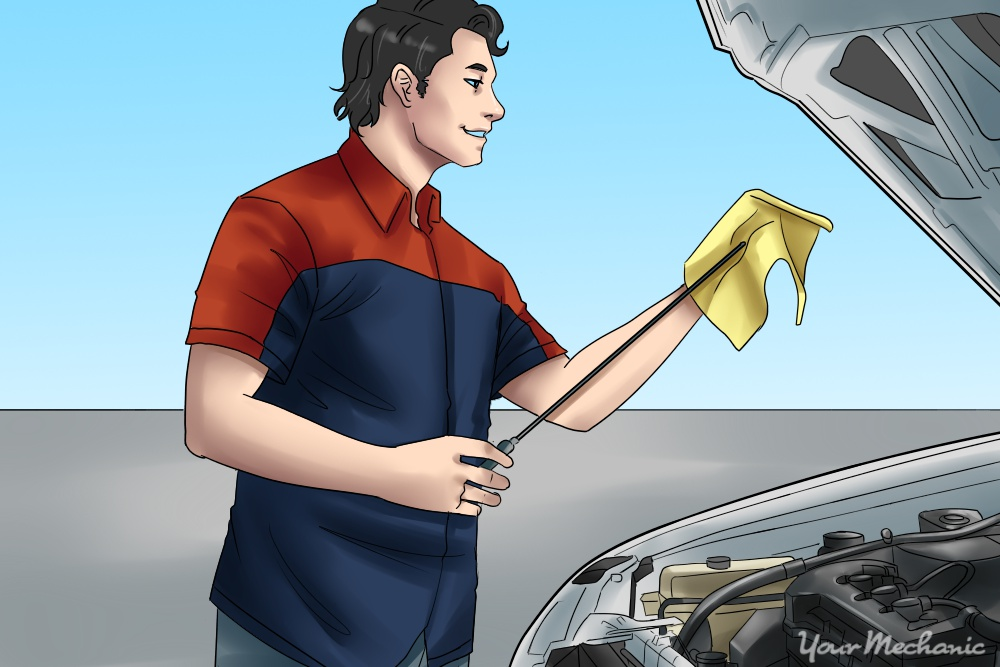 person checking fluid dipstick