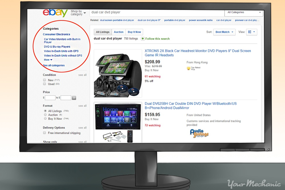 ebay screenshot highlighting categories