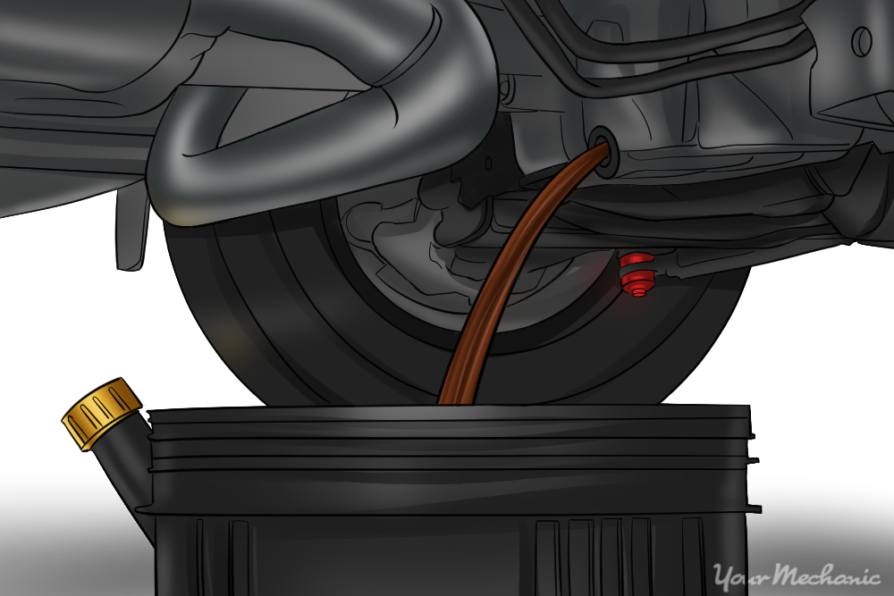 engine oil being drained into pan