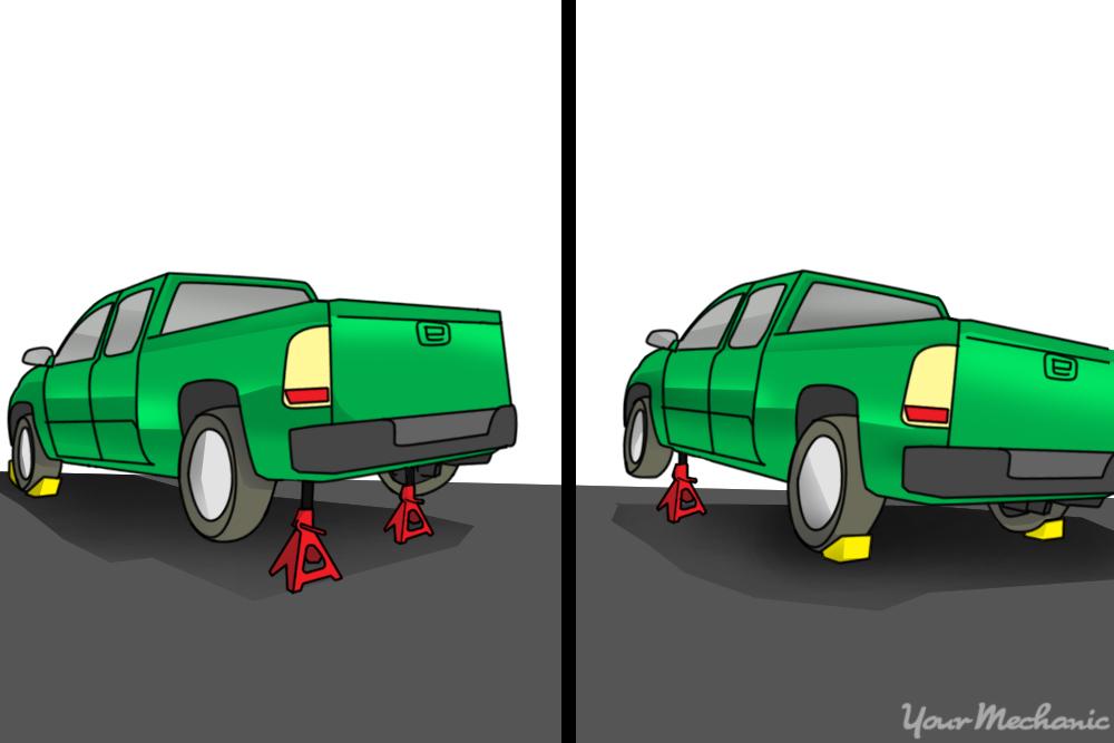 car on jack stands