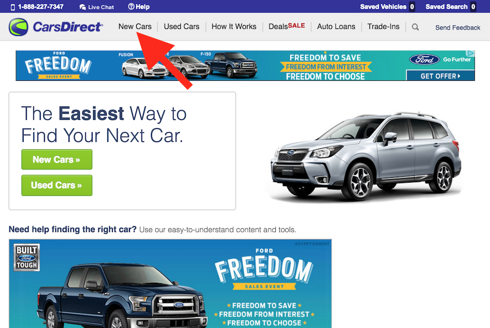 cars direct with new car pointed at