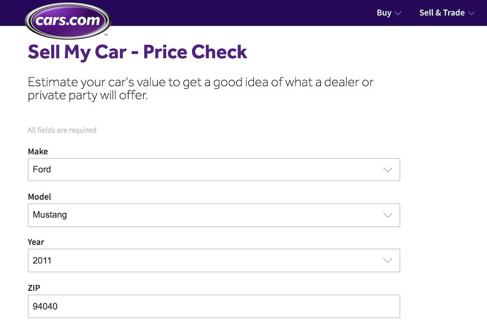 cars.com page