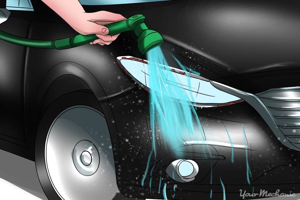 hose rinsing car