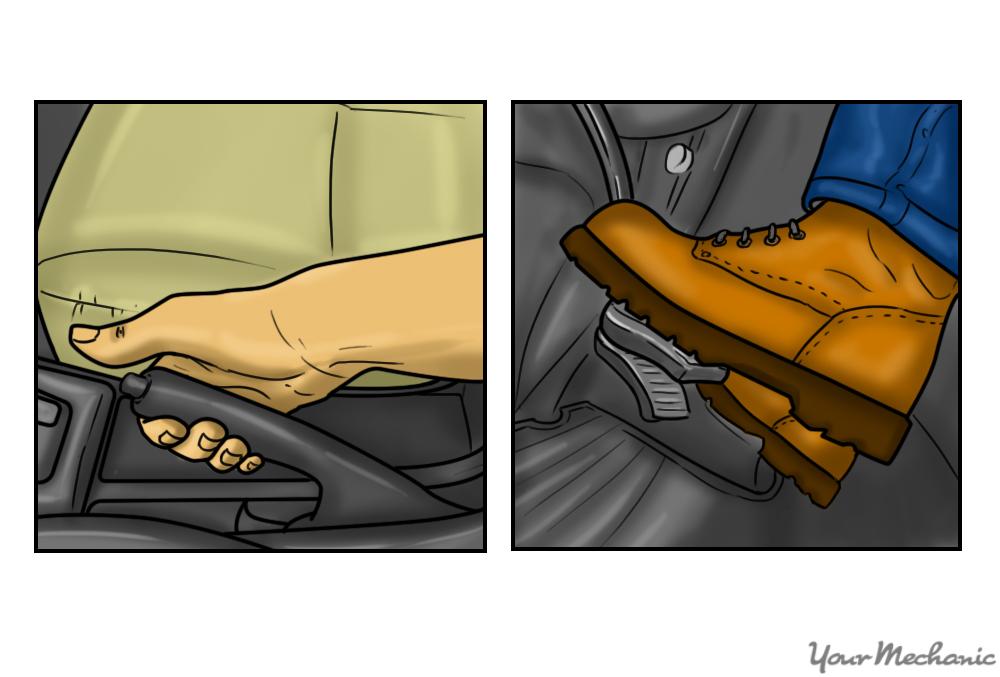 parking brake handle and person depressing parking brake pedal