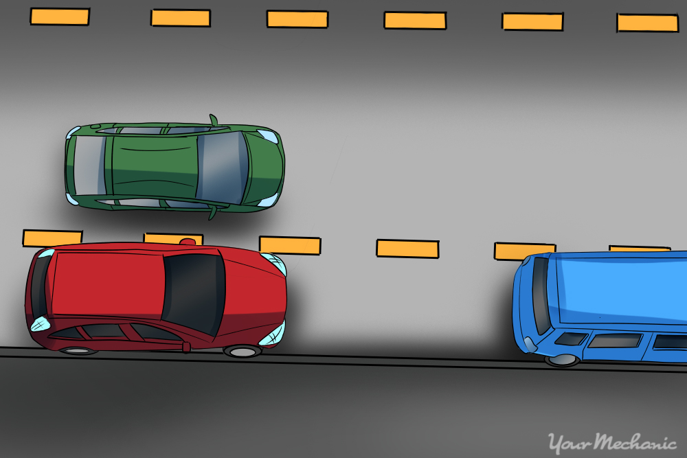 birds eye view of cars driving