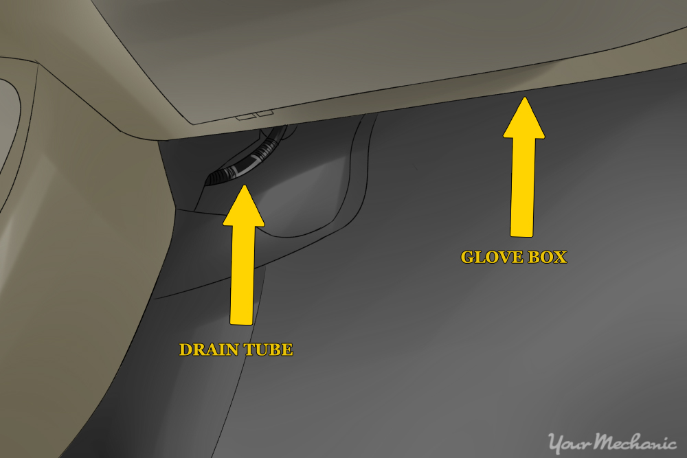 evaporator drain tube and glove box labeled with arrows