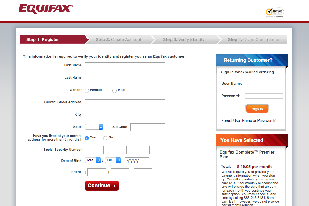 equifax registration screenshot