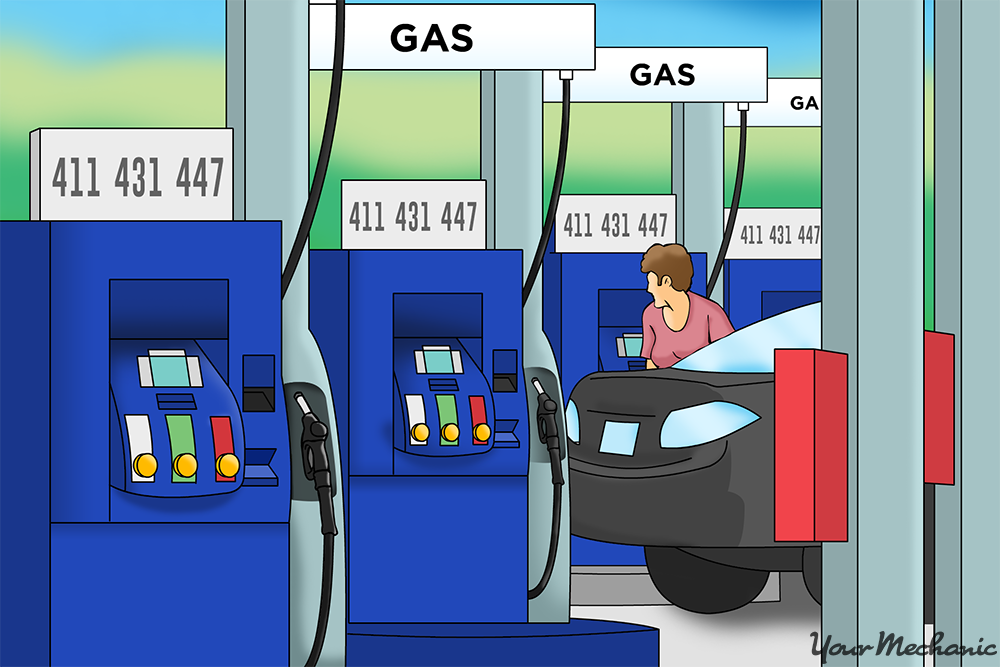 row of gas pumps
