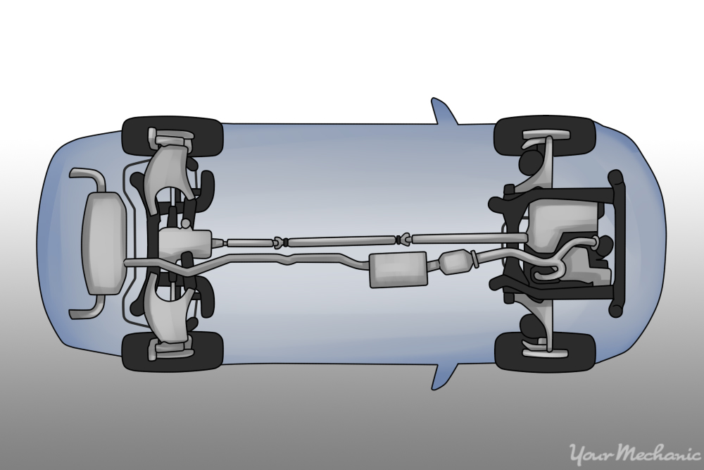 image showing front and rear driveshaft
