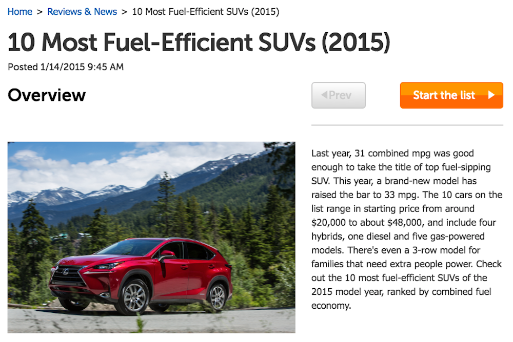 fuel efficient SUV article