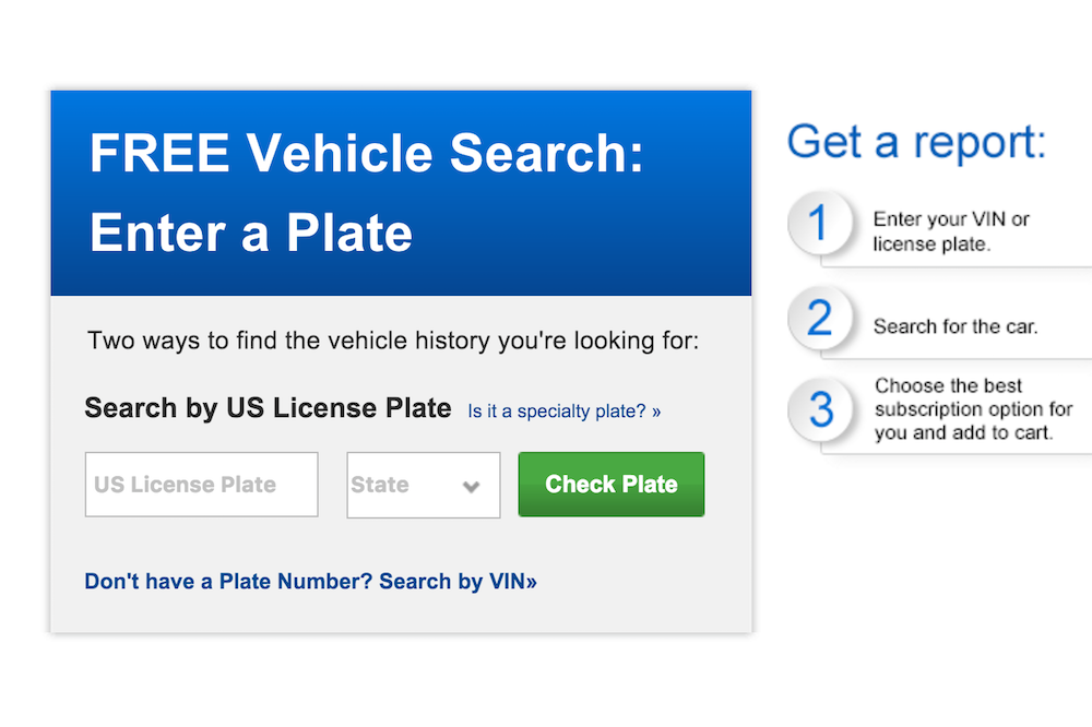 screenshot of autocheck website