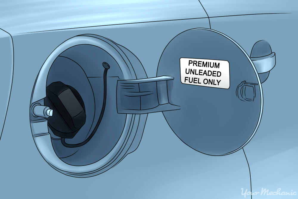 label reading premium unleaded fuel only