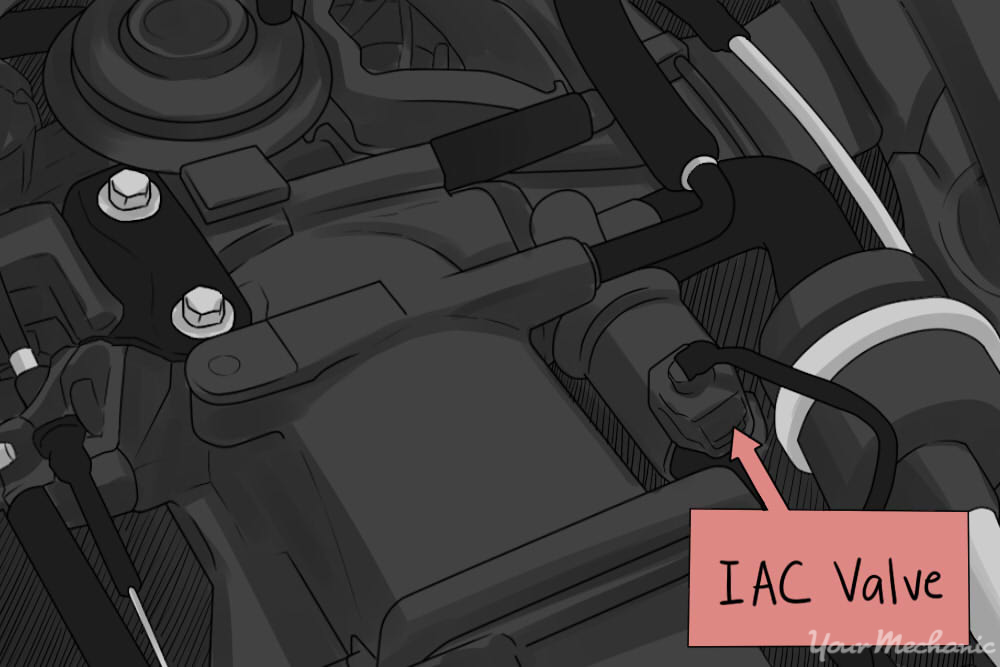 2 How to Clean an Idle Air Control Valve picture of the intake manifold with an arrow pointing to the IAC how to check an idle air control valve yourmechanic advice  at panicattacktreatment.co