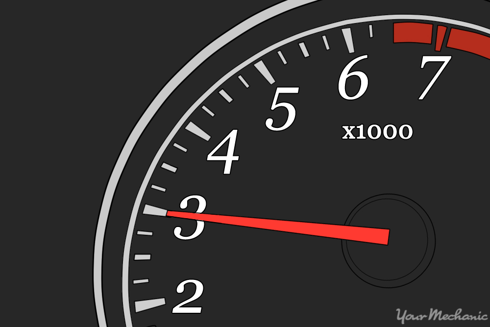 tachometer with black face and red needle