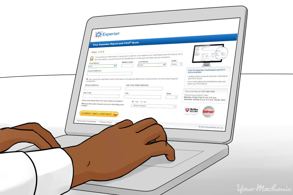person filling out information for credit report