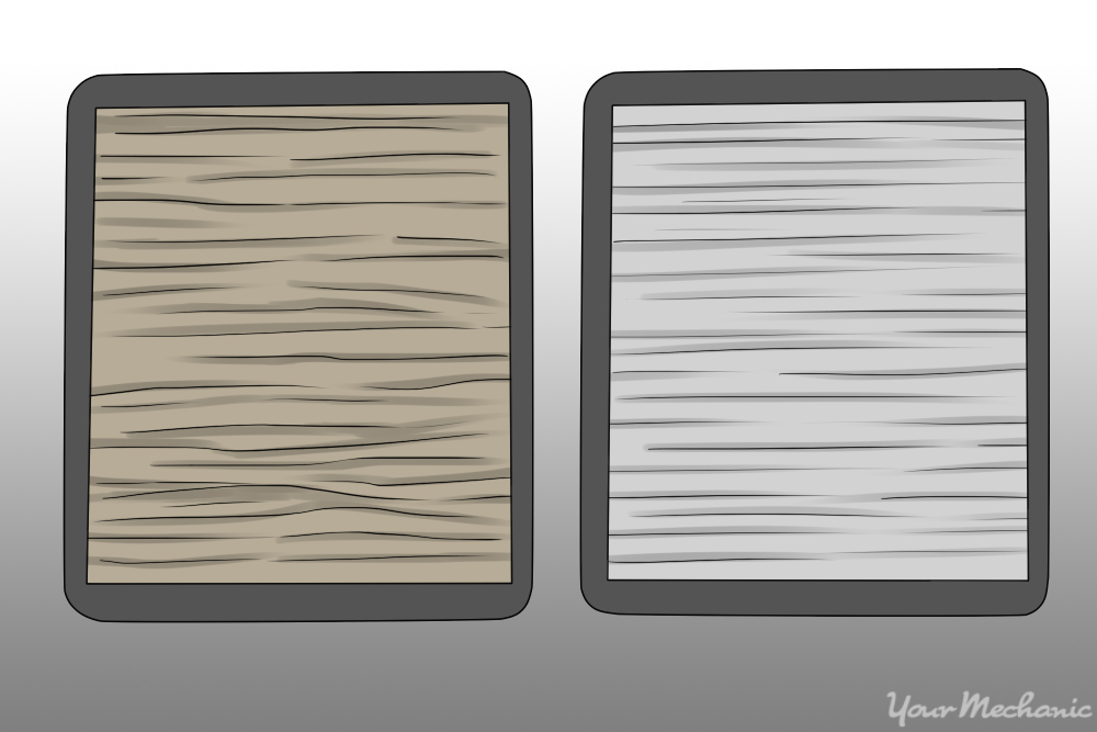 clean air filter and dirty one side by side