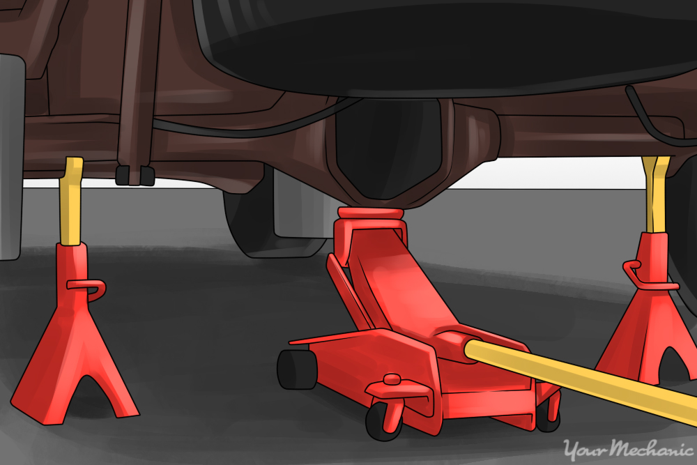 typical floor jack and jack stand placement