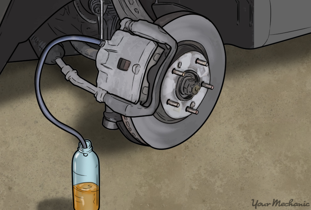 raised car wheel with brake fluid being bled