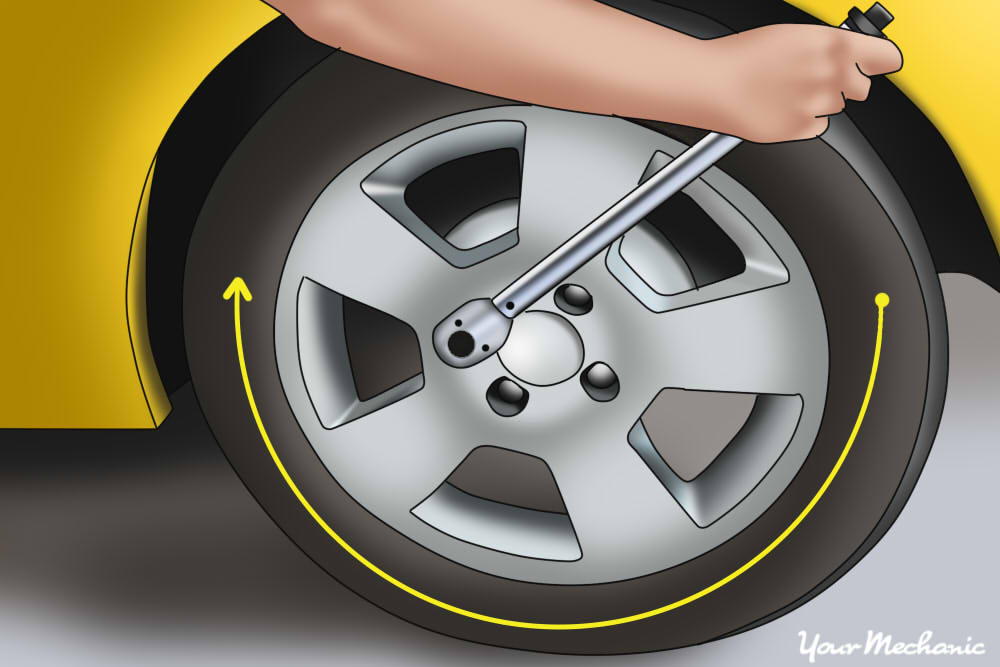 hand torquing lug nuts of wheel