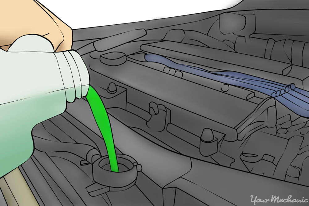pouring green coolant in