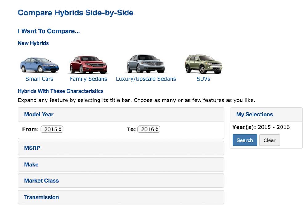 hybrid car listing